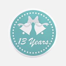 13th Anniversary Wedding Bells Button