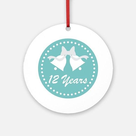 12th Anniversary Wedding Bells Ornament (Round)