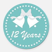 12th Anniversary Wedding Bells Round Car Magnet