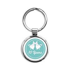 10th Anniversary Wedding Bells Round Keychain