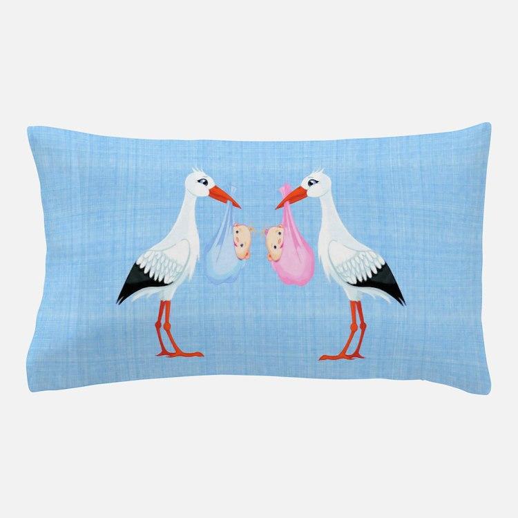 Stork Twins Pillow Case