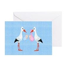 Stork Twins Card Greeting Cards