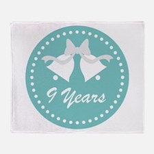 9th Anniversary Wedding Bells Throw Blanket