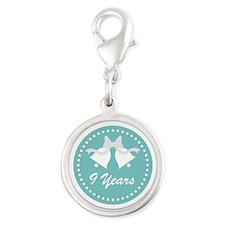 9th Anniversary Wedding Bells Silver Round Charm