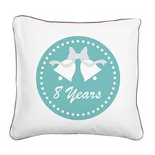 8th Anniversary Wedding Bells Square Canvas Pillow