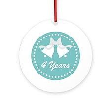 4th Anniversary Wedding Bells Ornament (Round)