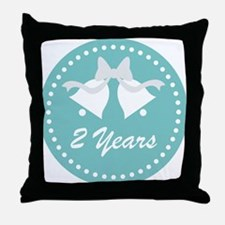 2nd Anniversary Wedding Bells Throw Pillow