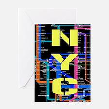 NYC subway map Greeting Cards