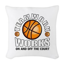 Basketball teamwork Woven Throw Pillow