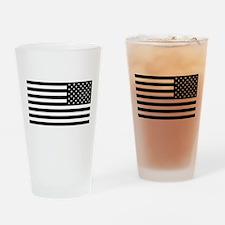 U.S. Flag - Black Backwards Drinking Glass