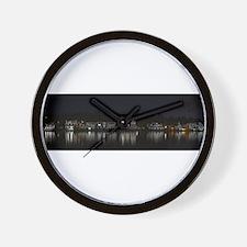 Boathouse Row Night Panoramic Wall Clock