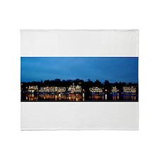 Boathouse Row, Nighttime Panoramic Throw Blanket