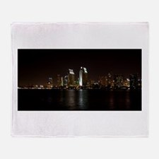 San Diego Night Skyline Throw Blanket