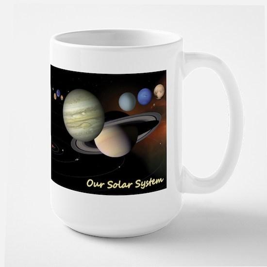 Earth's Solar System + Pluto's Heart Large Mug