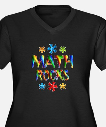 Math Rocks! Women's Plus Size V-Neck Dark T-Shirt