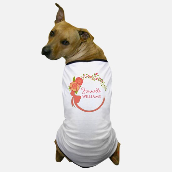 Personalized Name Floral Wreath Dog T-Shirt