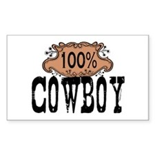 100% Cowboy Rectangle Decal
