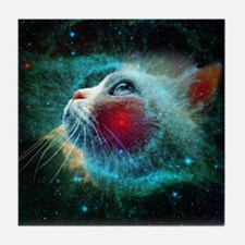 space cat Tile Coaster