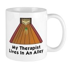 BOWLING  MY THERAPIST LIVES IN AN ALLEY Mug