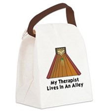 BOWLING  MY THERAPIST LIVES IN AN Canvas Lunch Bag