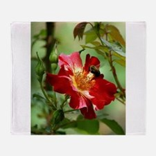 Bee Hovering Over Rose Throw Blanket
