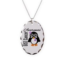 GIST Cancer Penguin Necklace Oval Charm