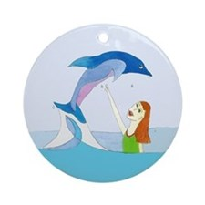 Girl and Porpoise Ornament (Round)