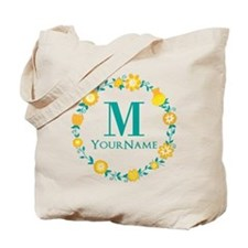 Teal Yellow Floral Wreath Monogram Tote Bag