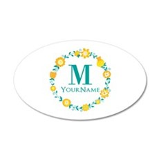 Teal Yellow Floral Wreath Mo Wall Decal
