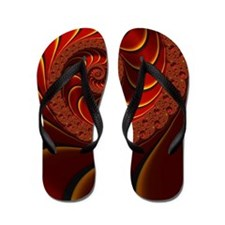 Red Gold Beautiful Fractal Art Flip Flops