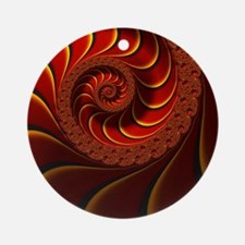 Red Gold Beautiful Fractal Art Round Ornament