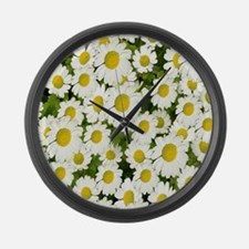 white daises Large Wall Clock