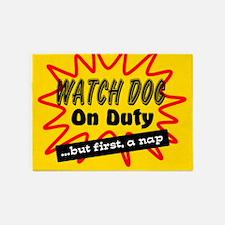 Watch Dog On Duty 5'x7'Area Rug