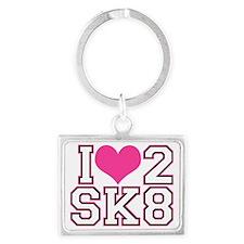 Love to Skate (Pink/Blk) Landscape Keychain