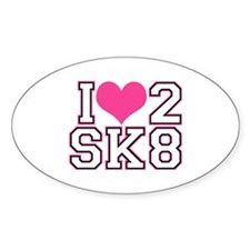 Love to Skate (Pink/Blk) Stickers