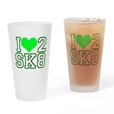 Love to Skate (Lime/Blk) Drinking Glass
