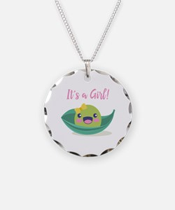 It's a Girl Baby Shower Pea Necklace