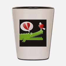 Alligator in Love background Shot Glass