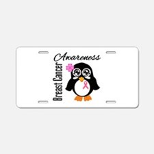 Breast Cancer Penguin Aluminum License Plate