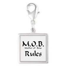 MOB Rules Silver Square Charm