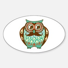 Fat Owl with Mustache Sticker (Oval)