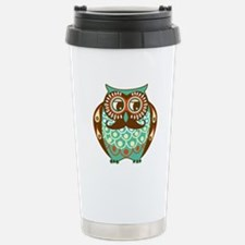 Fat Owl with Mustache Stainless Steel Travel Mug