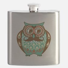 Fat Owl with Mustache Flask