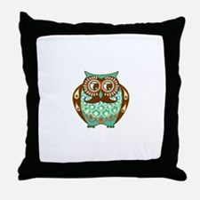 Fat Owl with Mustache Throw Pillow