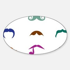 Mustaches Sticker (Oval)