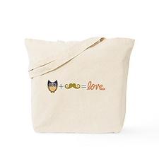 Owl plus mustache equals love Tote Bag
