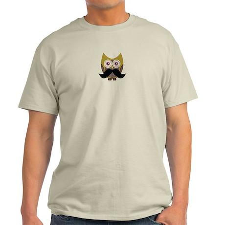 Golden Owl with Mustache Light T-Shirt