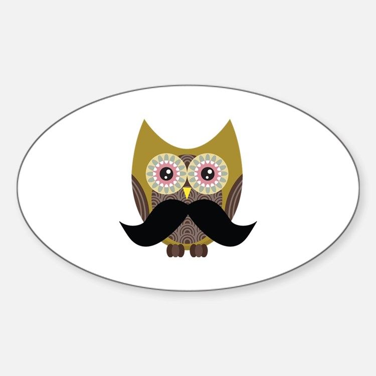 Golden Owl with Mustache Decal