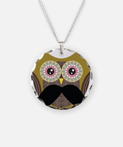 Golden Owl with Mustache Necklace