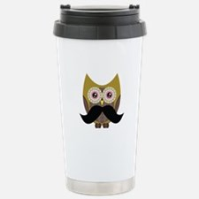 Golden Owl with Mustache Stainless Steel Travel Mu